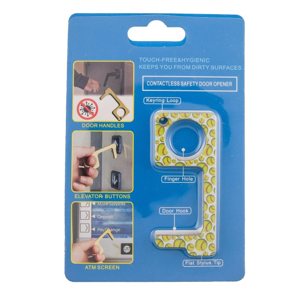 Keep Your Hands Safe with This Softball Fashion Design Contactless Safety Door Opener.  - Touch Free & Hygienic  - Keeps You From Touching Dirty Surfaces - Can Be Used For ATM Screens, Pin Pads, Door Handles Etc. - Features Keyring Loop, Finger Hole, Door Hook & Flat Tip  - Approximately 2.75""