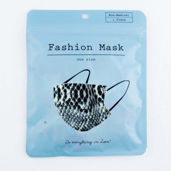 Do everything in Love Brand Grey Snakeskin Face Mask with Filter Insert.  - Non-Medical - Adjustable Ear Loops - Washable & Reusable - Wash After Each Use - Double Layer Fabric - Filter Insert (Filter Not Included)**  - Blocks against Sunlight / Dust / Etc - One size fits most Adults  *** ALL Sales Final Due to CDC Recommendations