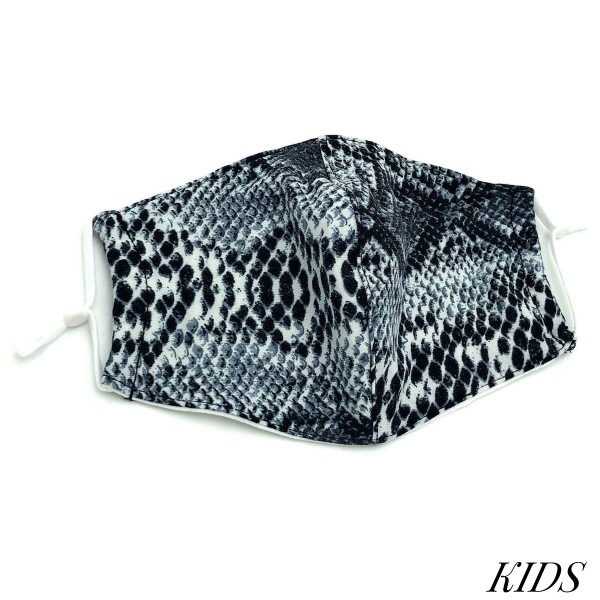 Do everything in Love Brand Kids Adjustable Grey Snakeskin Face Mask with Filter Insert.  - Non-Medical - Adjustable Ear Loops - Washable & Reusable - Wash After Each Use - Double Layer Fabric - No Filter or Filter Insert - Blocks against Sunlight / Dust / Etc - One size fits most Kids (5-11)  *** ALL Sales Final Due to CDC Recommendations