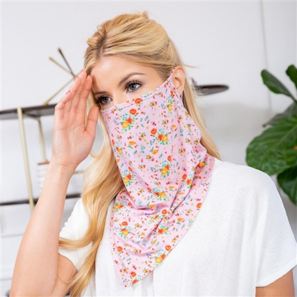 "Floral Print Face Shield Mask with Ear Loops.  - Non-Medical - No Filter - Quick Dry & Breathable Material - Helps Protect From UV / Dust / Wind / Sun  - One size fits most - Approximately 16"" L - 21"" Head Circumference  - 96% Polyester / 4% Spandex  *** ALL Sales Final Due to CDC Recommendations"