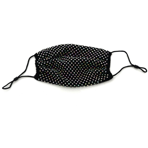 Adjustable Trendy Rhinestone Mesh Fashion Face Mask.  - Face Mask Cover Design - Thin Layer of Fabric  - Not Recommended For Protection - Does Not Protect Against Any Particles - Mask Cover Accessory - Do Not Wash - Adjustable Elastic Ear Loops - One size fits most Adults  *** ALL Sales Final Due to CDC Recommendations