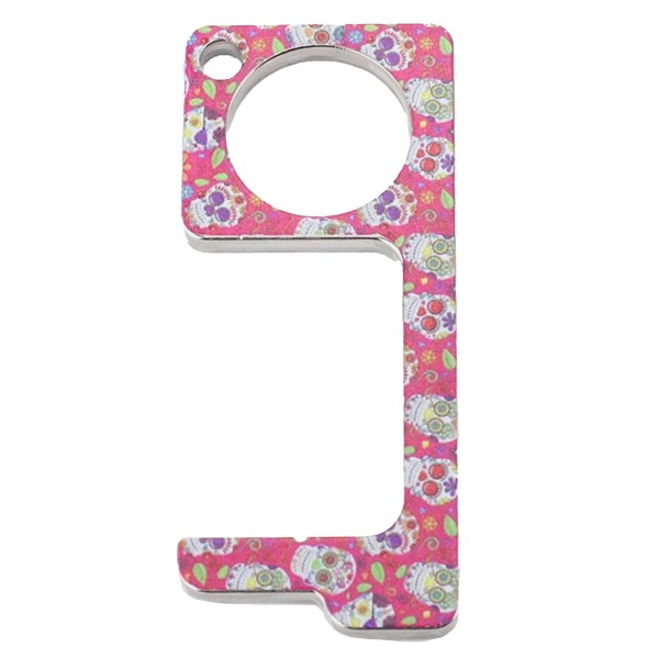 Keep Your Hands Safe with This Pink Sugar Skull Fashion Design Contactless Safety Door Opener.  - Touch Free & Hygienic  - Keeps You From Touching Dirty Surfaces - Can Be Used For ATM Screens, Pin Pads, Door Handles Etc. - Features Keyring Loop, Finger Hole, Door Hook & Flat Tip  - Approximately 2.75""