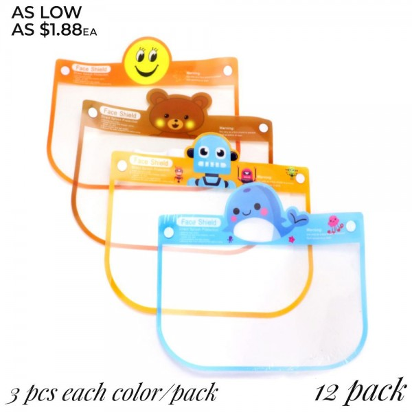 """Kids Reusable Transparent Protective Face Shield Featuring Elastic Band & Foam Head Bumper. (12 PACK)  - Direct Splash Protection  - Anti-Fog  - Protects Full Face From Droplets, Salvia, Dust, Splatters & Smoke - Good Elasticity & Light Weight - Remove Outer Protection Film Before Using  - Pack Breakdown: 12 Face Shields & 12 Bumpers  - 24 PCS Per Pack  - Designs: 3 Blue Whales / 3 Brown TeddyBears / 3 Orange Robots / 3 Orange Smily Faces - Approximately 11"""" T x 7"""" W  • This face shield is designed to protect your whole face from spray and splatter, droplet, dust, oil smoke etc. • Easy to adjust for a custom with elastic headband, secure fit, it is suitable for all head size, crystal clear, and there is space    between the face and the protective cover. • Super transparent, The surface contacts with the skin has a soft sponge, the rope is elastic, and it is lightweight,    comfortable to wear. • High-quality optically and distortion-free PE film. Treated with anti-fog and antistatic coating to improve maximum visibility,    durable and practical. *** ALL Sales Final Due to CDC Recommendations"""