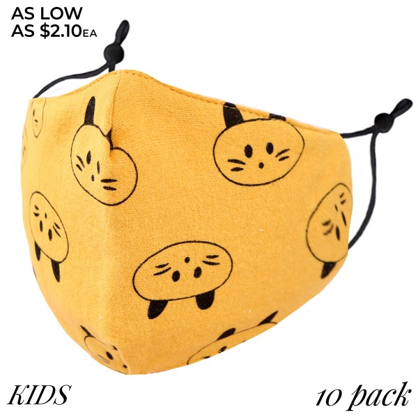 KIDS Non-Medical Adjustable Animal Print Fashion Face Mask. (10 PACK)  - Wash Before Use - Reusable / Washable / Latex Free - Eco-Friendly - Protects from Dust / Fog / Spray / Pollen - Filter Insert (Filter Not Included)** - Adjustable Ear Loops  - One size fits most KIDS (AGES 5-11) - 10 Mask Per Pack - Each Mask Are Individually Wrapped  - Cotton & Elastic