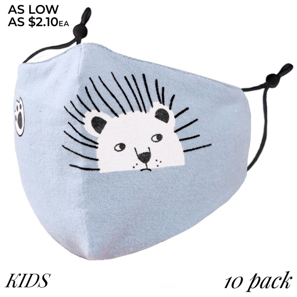 KIDS Non-Medical Adjustable Bear Print Fashion Face Mask with Filter Insert. (10 PACK)  - Wash Before Use - Reusable / Washable / Latex Free - Eco-Friendly - Protects from Dust / Fog / Spray / Pollen - Adjustable Ear Loops  - Filter Insert (Filter Not Included)** - One size fits most KIDS (AGES 5-11) - 10 Mask Per Pack - Each Mask Are Individually Wrapped  - Cotton & Elastic  *** ALL Sales Final Due to CDC Recommendations