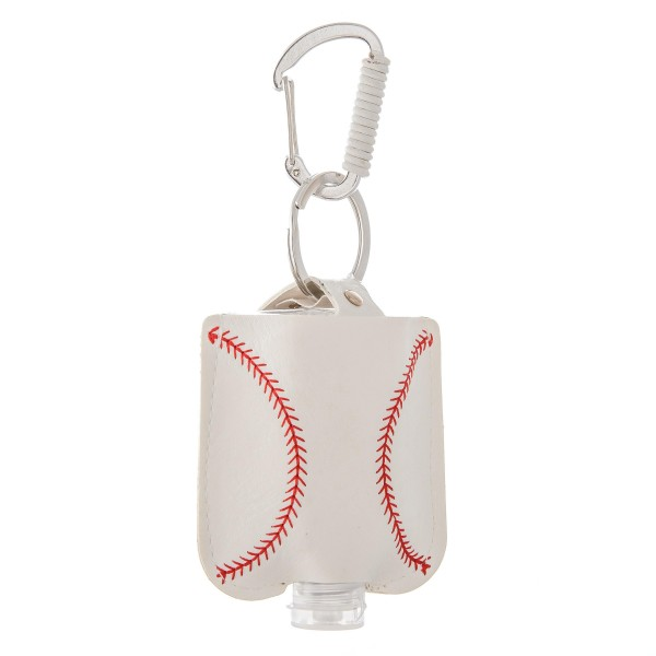 """Keep Your Self Protected While You're Out and About on Game Day with This Faux Leather Baseball Hand Sanitizer Holder.  - Clip to your purse, bag, or diaper bag - Key ring to hold your keys - Fits up to 1fl.oz Sanitizer Bottle - Approximately 3"""" T x 2.5"""" W  ***Hand Sanitizer NOT INCLUDED. (Comes with empty Bottle)"""