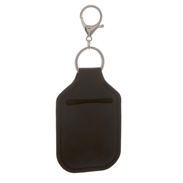 "PU Neoprene Black Hand Sanitizer Holder/Keychain Holder.  - Can Attach to Keys / Purses / Bags / Backpacks Etc. - Hand Sanitizer Not Included** - Outside Material: PU - Inside Material: Neoprene - Approximately 4"" T x 2.5"" W"
