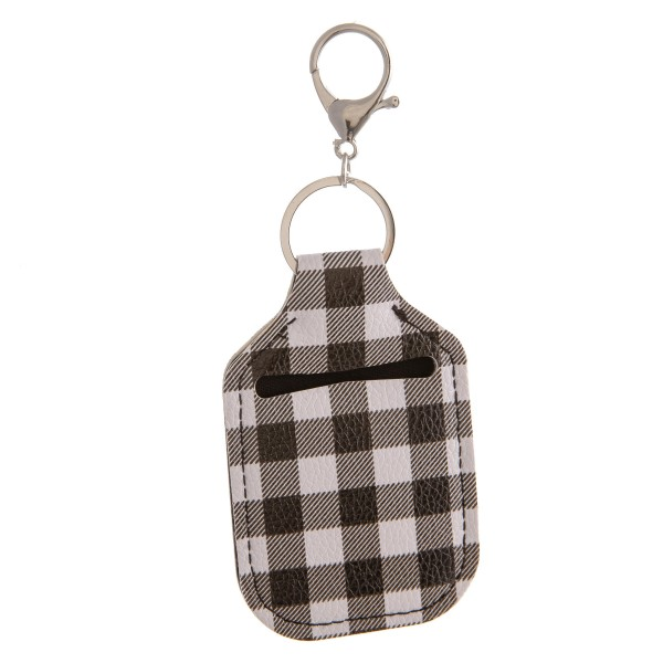 "PU Neoprene Buffalo Check Hand Sanitizer Holder/Keychain Holder.  - Can Attach to Keys / Purses / Bags / Backpacks Etc. - Hand Sanitizer Not Included** - Outside Material: PU - Inside Material: Neoprene - Approximately 4"" T x 2.5"" W"