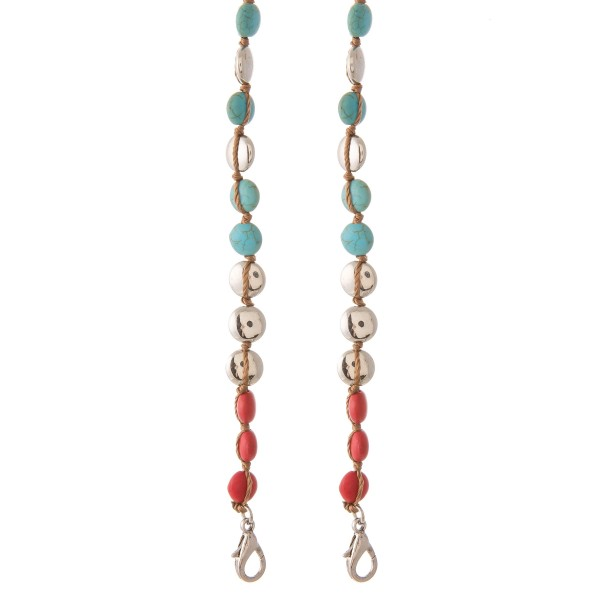 "2 in 1 Turquoise Multi Cord Beaded Face Mask Chain Holder/Sunglasses Holder.  - Secures Face Mask/Sunglasses  - Attach Clasps Together & Wear as a Trendy Necklace! - Approximately 20"" L"