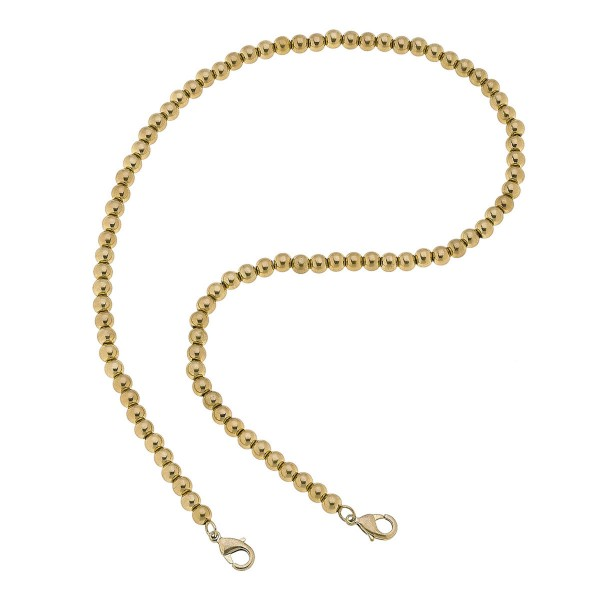 "2 in 1 Ball Beaded Mask Chain Necklace in Gold.  - Secures Face Mask - Attach Clasps Together & Wear as a Trendy Necklace - Approximately 20"" L"