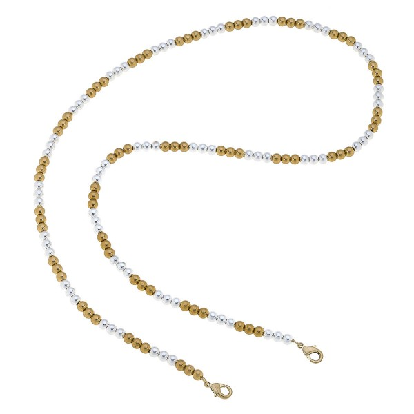 """2 in 1 Two Tone Beaded Face Mask Chain Necklace.  - Secures Face Mask - Attach Clasps Together & Wear as a Trendy Necklace - Approximately 32"""" L"""