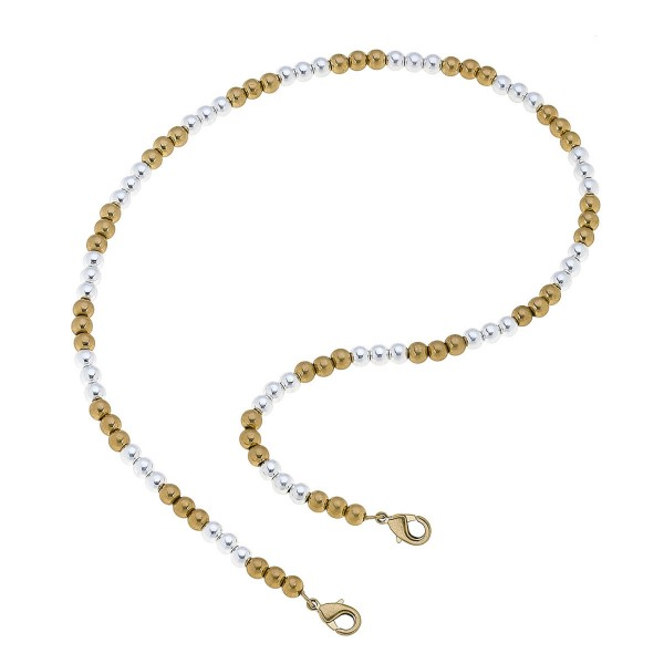 "2 in 1 Two Tone Beaded Mask Chain Necklace.  - Secures Face Mask - Attach Clasps Together & Wear as a Trendy Necklace - Approximately 20"" L"