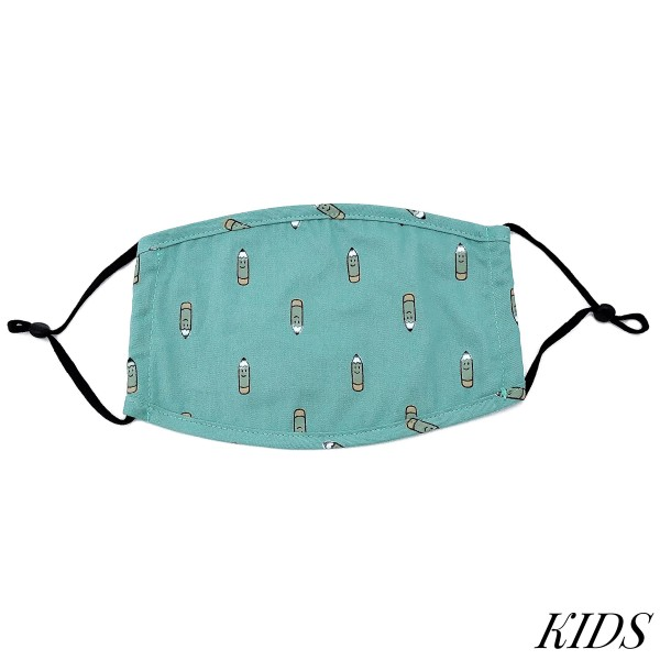 Do everything in Love Brand Kids Adjustable School Pencil Print Face Mask.  - Non-Medical - Adjustable Ear Loops - Washable & Reusable - Wash After Each Use - Double Layer Fabric - No Filter or Filter Insert - Blocks against Sunlight / Dust / Etc - One size fits most Kids (5-11)  *** ALL Sales Final Due to CDC Recommendations