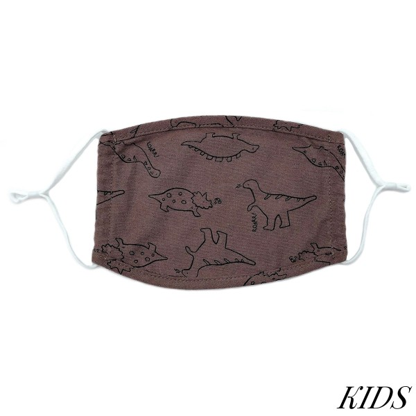 Do everything in Love Brand Kids Adjustable Dino Print Face Mask.  - Non-Medical - Adjustable Ear Loops - Washable & Reusable - Wash After Each Use - Double Layer Fabric - No Filter or Filter Insert - Blocks against Sunlight / Dust / Etc - One size fits most Kids (5-11)  *** ALL Sales Final Due to CDC Recommendations