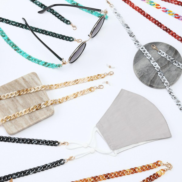 """Resin Chain Link Fashion Face Mask Chain Lanyard.  - Secures Face Mask, Sunglasses or ID  - Detachable Clip  - Approximately 30"""" L"""