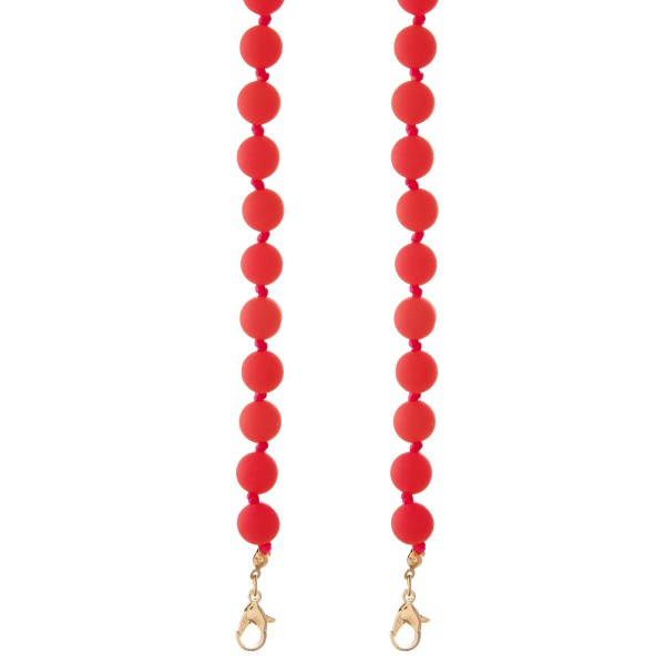 "Rubber Ball Beaded Face Mask Chain Holder.  - Secures Face Mask Around Neck - Approximately 30"" L - 9mm Bead Size"
