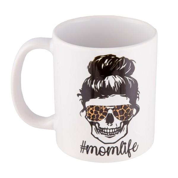 Leopard Print #MOMLIFE Ceramic Coffee Mug.  - Printed on Both Sides - Ceramic - Hold up to 11 fl oz.