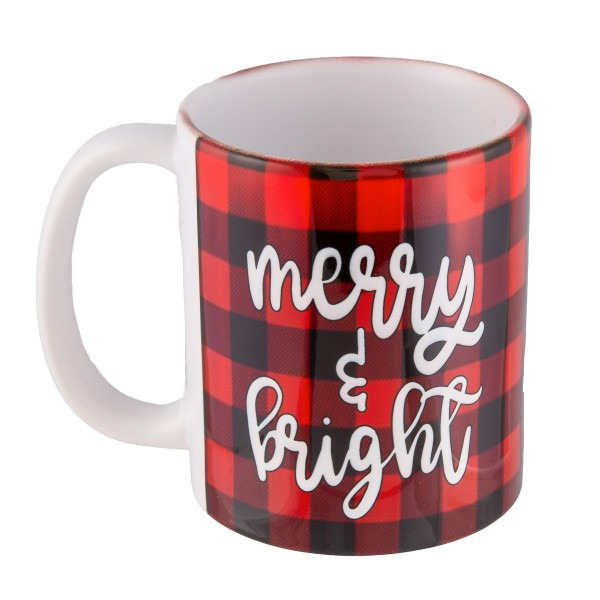 Merry & Bright Buffalo Check Coffee Mug.  - Printed on Both Sides - Ceramic - Holds up to a 11 fl oz.