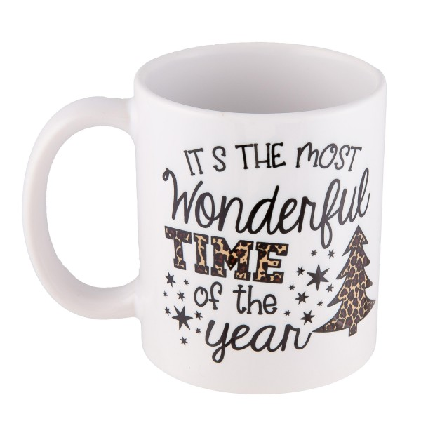 """""""Its the Most Wonderful Time of the Year"""" Leopard Print Christmas Mug.  - Printed on Both Sides - Ceramic  - Holds up to 11 fl oz."""