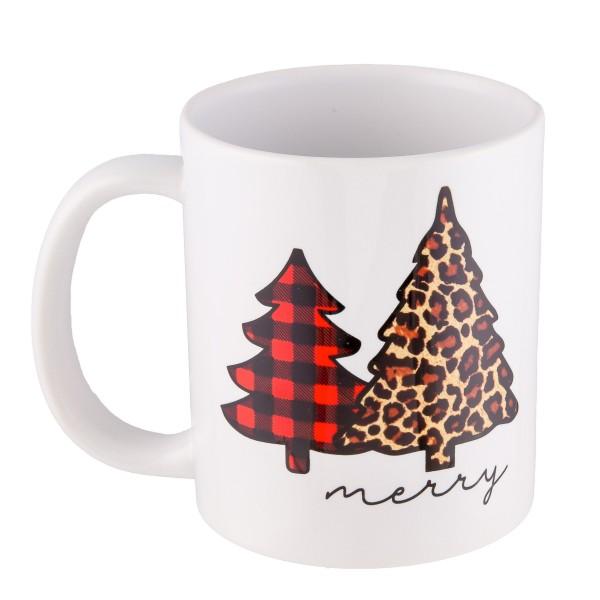 Merry Buffalo Leopard Print Coffee Mug.  - Printed on Both Sides - Ceramic - Holds up to 11 fl oz.