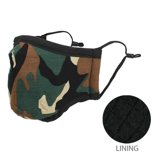 Non-Medical Adjustable Camouflage Face Mask.  - Non-Surgical - Wash Before Use - Washable & Reusable  - Quilted Lining  - Adjustable Nose Wire - No Filter  - Adjustable Ear Loops - 66.8% Cotton / 28.2% Viscose / 5% Polyester  *** ALL Sales Final Due to CDC Recommendations