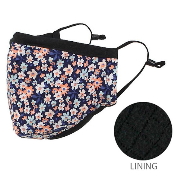 Non-Medical Adjustable Floral Print Face Mask.  - Non-Surgical - Wash Before Use - Washable & Reusable  - Quilted Lining - No Filter - Adjustable Nose Wire - Adjustable Ear Loops - 66.8% Cotton / 28.2% Viscose / 5% Polyester  *** ALL Sales Final Due to CDC Recommendations