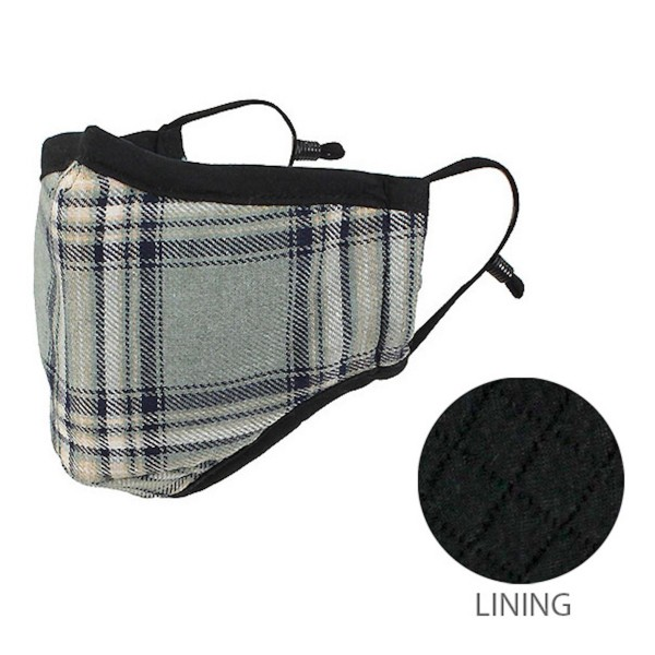Non-Medical Adjustable Plaid Print Face Mask.  - Non-Surgical - Wash Before Use - Washable & Reusable - Quilted Lining - No Filter - Adjustable Nose Wire - Adjustable Ear Loops - 12 Mask Per Pack - Each Mask Individually Wrapped - 66.8% Cotton / 28.2% Viscose / 5% Polyester  *** ALL Sales Final Due to CDC Recommendations