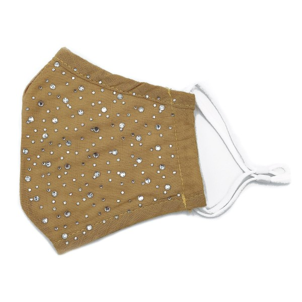 Do everything in Love Brand Adjustable Rhinestone Fashion Face Mask with Filter Pocket.  - Adjustable Ear Loops - Washable & Reusable - Non-Medical - Filter Insert - Filter Sold Separately*** - Blocks against Sunlight / Dust / Etc - Wash After Each Use - One size fits most Adults  *** ALL Sales Final Due to CDC Recommendations
