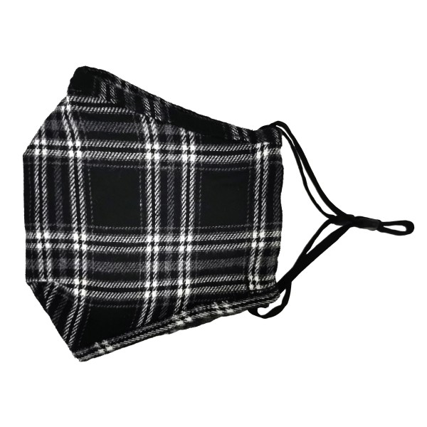 Do everything in Love Brand Adjustable Plaid Print Face Mask with Filter Pocket.  - Adjustable Ear Loops - Washable & Reusable - Non-Medical - Filter Insert - Filter Sold Separately*** - Blocks against Sunlight / Dust / Etc - Wash After Each Use - One size fits most Adults  *** ALL Sales Final Due to CDC Recommendations