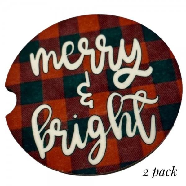 Wholesale merry Bright Buffalo Check Christmas Car Coaster Set Coasters Per Pack