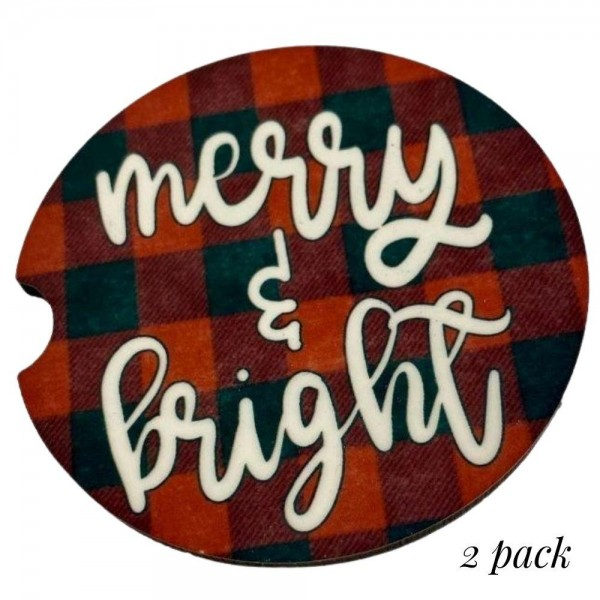 """Merry & Bright Buffalo Check Christmas Car Coaster Set.  - 2 Coasters Per Pack - Side Finger Slot for Easy Removal - Printed on Condensation Absorbing Cork - Approximately 2.25"""" in Diameter"""