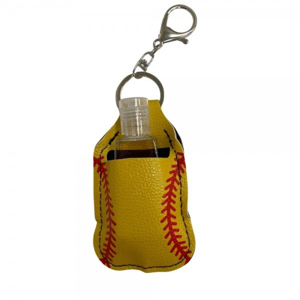 "Faux Leather Neoprene Softball Hand Sanitizer Holder/Keychain Holder.  - Can Attach to Keys / Purses / Bags / Backpacks Etc. - Hand Sanitizer Not Included** - Holds 1fl oz - Outside Material: Faux Leather - Inside Material: Neoprene - Approximately 4"" T x 2.5"" W  ** Comes with Empty Sanitizer Bottle."
