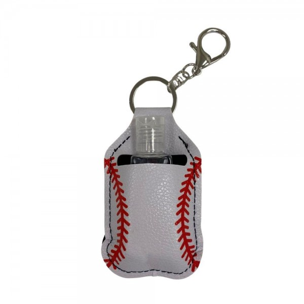 """Faux Leather Neoprene Baseball Hand Sanitizer Holder/Keychain Holder.  - Can Attach to Keys / Purses / Bags / Backpacks Etc. - Hand Sanitizer Not Included** - Holds 1fl oz - Outside Material: Faux Leather - Inside Material: Neoprene - Approximately 4"""" T x 2.5"""" W  ** Comes with Empty Sanitizer Bottle."""
