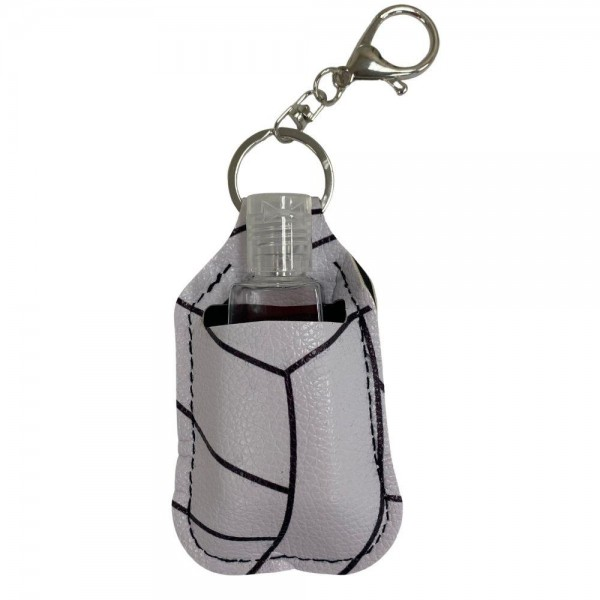 """Faux Leather Neoprene Volleyball Hand Sanitizer Holder/Keychain Holder.  - Can Attach to Keys / Purses / Bags / Backpacks Etc. - Hand Sanitizer Not Included** - Holds 1fl oz - Outside Material: Faux Leather - Inside Material: Neoprene - Approximately 4"""" T x 2.5"""" W  ** Comes with Empty Sanitizer Bottle."""