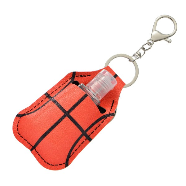 """Faux Leather Neoprene Basketball Hand Sanitizer Holder/Keychain Holder.  - Can Attach to Keys / Purses / Bags / Backpacks Etc. - Hand Sanitizer Not Included** - Holds 1fl oz - Outside Material: Faux Leather - Inside Material: Neoprene - Approximately 4"""" T x 2.5"""" W  ** Comes with Empty Sanitizer Bottle."""
