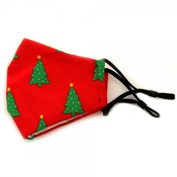 Kids Adjustable Christmas Tree Print Face Mask.  - Non-Medical - Christmas Print - Filter Pocket - No Filter* - Adjustable Ear Loops - Adjustable Nose Piece - Helps Protect Against Particles - Washable & Reusable
