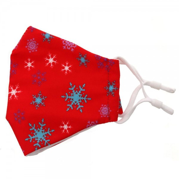 Kids Adjustable Christmas Print Face Mask.  - Non-Medical - Christmas Print - Filter Pocket - No Filter* - Adjustable Ear Loops  - Adjustable Nose Piece - Helps Protect Against Particles - Washable & Reusable