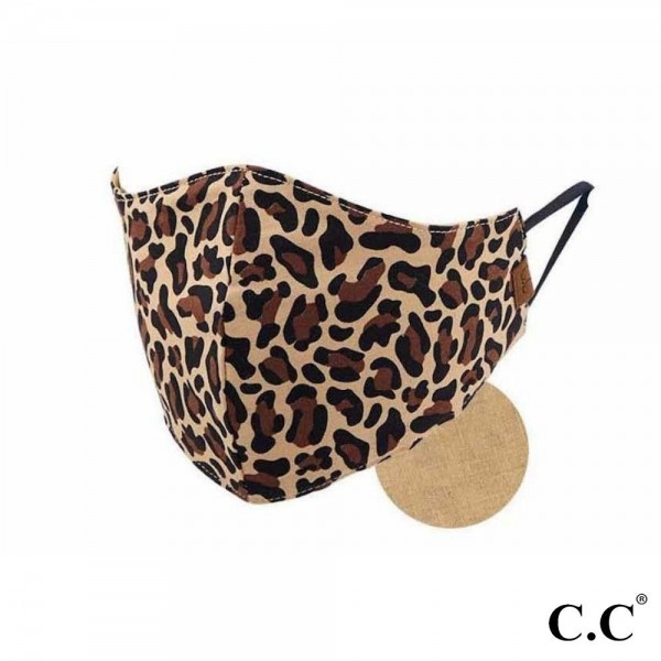 C.C MASK-2-LEOPARD C.C Leopard Print Face Mask  - Non-Medical - Washable & Reusable - Filter Pocket - No Filter*  - Double Layered Fabric - Helps Protect Against Particles - One size fits most Adults - 100% Cotton & Elastic