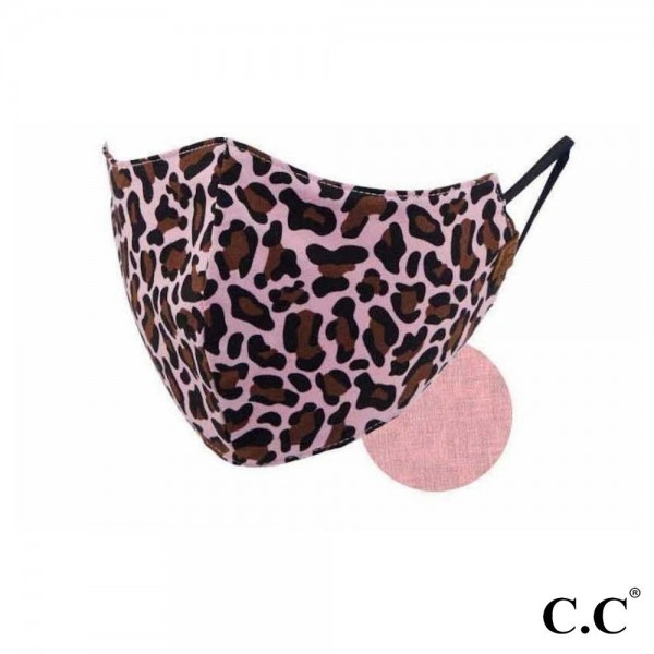 C.C MASK-2-LEOPARD C.C Leopard Print Face Mask  - Non-Medical - Washable & Reusable - Filter Pocket - No Filter*  - Double Layered Fabric - Helps Protect Against Particles - One size fits most Adults - 100% Cotton & Elastic  *** ALL Sales Final Due to CDC Recommendations