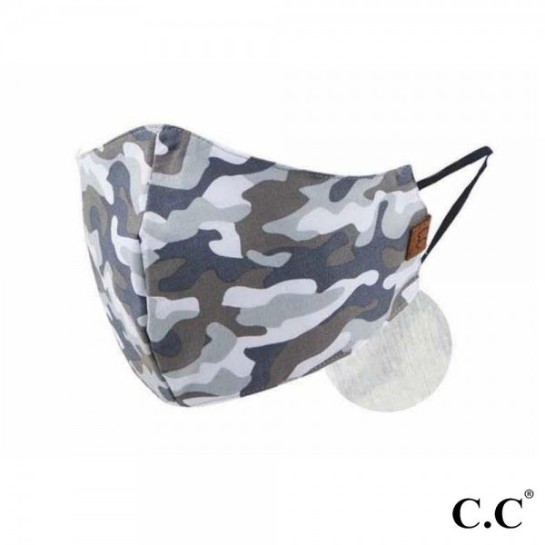 C.C MASK-1-CAMOUFLAGE C.C Camouflage Face Mask  - Non-Medical  - Washable & Reusable - Filter Pocket - No Filter* - Double Layered Fabric  - Helps Protect Against Particles - One size fits most Adults - 100% Cotton & Elastic   *** ALL Sales Final Due to CDC Recommendations