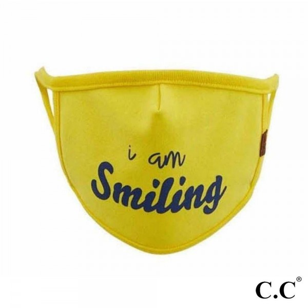 C.C MASK-10-SMILING C.C Smiling Fashion Face Mask  - Non-Medical - Washable & Reusable - Filter Pocket - No Filter* - Double Layered Fabric - Helps Protect Against Particles - One size fits most Adults  - 100% Cotton & Elastic