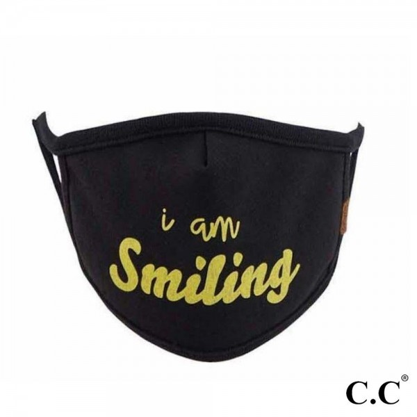 C.C MASK-10-SMILING C.C Smiling Fashion Face Mask  - Non-Medical - Washable & Reusable - Filter Pocket - No Filter* - Double Layered Fabric - Helps Protect Against Particles - One size fits most Adults  - 100% Cotton & Elastic  *** ALL Sales Final Due to CDC Recommendations