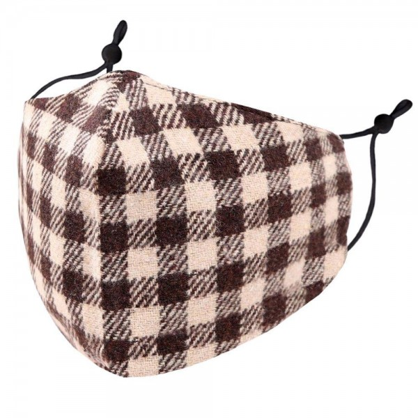 Adjustable Brown Buffalo Check Face Mask.  - Non-Medical - Washable & Reusable - Filter Pocket - No Filter* - Adjustable Ear Loops - Helps Protect Against Particles - One size fits most Adults - 100% Cotton & Elastic