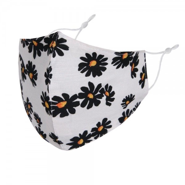 Adjustable Daisy Face Mask.  - Non-Medical - Washable & Reusable - No Filter - Adjustable Ear Loops - Helps Protect Against Particles - One size fits most Adults - 100% Cotton & Elastic