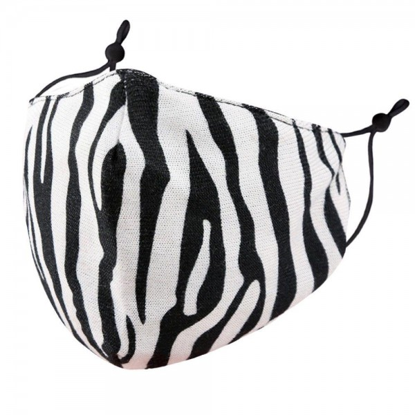 Adjustable Zebra Print Face Mask.  - Non-Medical - Washable & Reusable  - Filter Pocket - No Filter* - Adjustable Ear Loops - Helps Protect Against Particles - One size fits most Adults