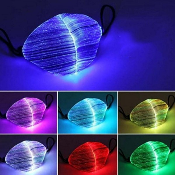 LED Luminous Face Mask Cover Accessory.  - Non-Medical - No Filter - 3 Layered - Fiber Optic Fabric, Waterproof Melt Blown, Soluble Non-Woven - 7 Color Change with Press of Button - Adjustable Ear Loops with Elastic Snap Headband - Waterproof - Mask Cover Accessory Only - USB Charging- Charge 1-2 Hours for 10-12 Hour Use  *** ALL Sales Final Due to CDC Recommendations