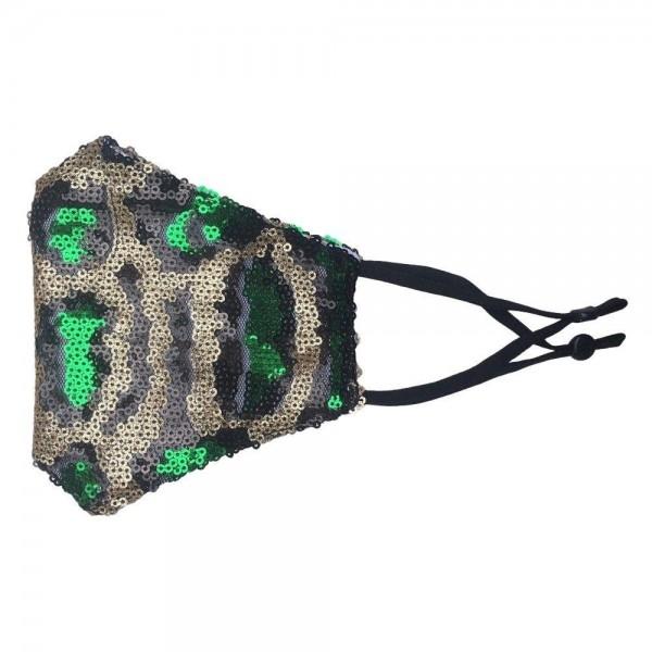 Wholesale adjustable Leopard Print Sequin Fashion Mask Non Medical Washable Reus