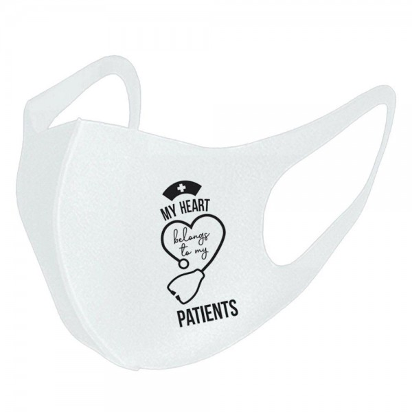 """""""My Heart Belongs to my Patients"""" Stretchable Black Fashion Design Face Mask.  - Non-Medical Fashion Face Mask - Washable / Reusable / Comfortable - Easy Breathing & Speaking - Wash After Each Use - These Mask Have No Filter - Does Not Protect Against Toxic Gases - Blocks Sunlight / Dust / Wind - One size fits most Adults - 100% Polyester  *** ALL Sales Final Due to CDC Recommendations"""