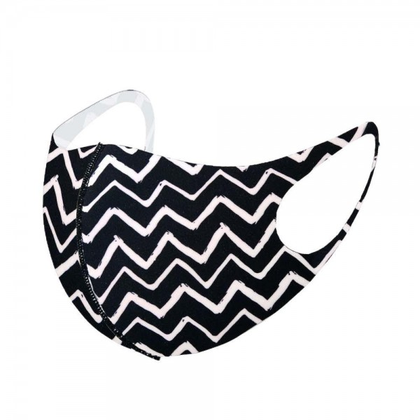 Stretchable Black Zig-Zag Print Face Mask.  - Non-Medical - No Filter - Stretchable Design - Helps Protect Against Particles - One size fits most Adults - 100% Polyester  *** ALL Sales Final Due to CDC Recommendations
