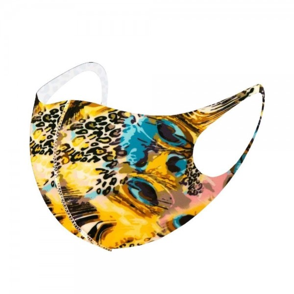 Stretchable Peacock Animal Print Face Mask.  - Non-Medical - No Filter - Stretchable Design - Helps Protect Against Particles - One size fits most Adults - 100% Polyester